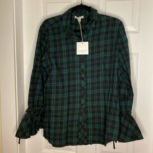 BeachLunchLounge Plaid Spruce Shirt NEW with tags